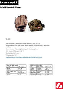 SL-120 Baseball gloves in leather infield/outfield, size 12, brown