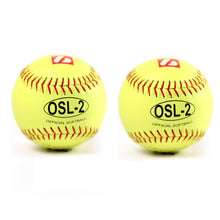 "Load image into Gallery viewer, OSL-2 Competition softball, size 12"", yellow, 2 pieces"