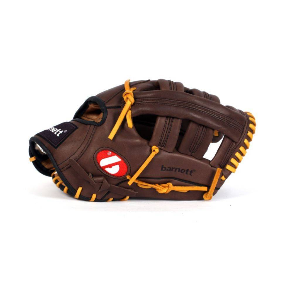 genuine leather brown outfield 12.7 Barnett GL-127 reg competition baseball glove