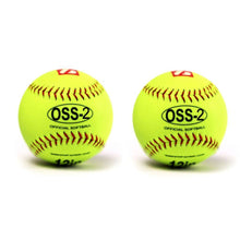 "Load image into Gallery viewer, OSS-2 Practice softball ball, soft touch, size 12"", white, 2 pieces"