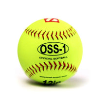 "Load image into Gallery viewer, OSS-1 Practice softball ball, size 12"", yellow, 2 pieces"
