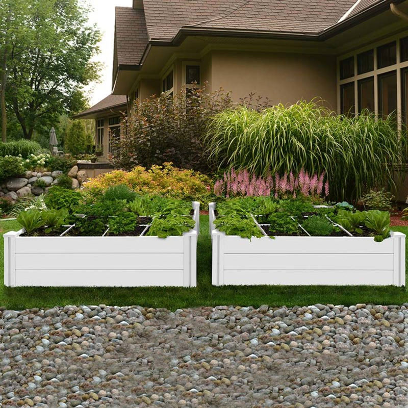 Vita 120 x 120 cm White Vinyl Garden Bed 2-Pack with GroGrid