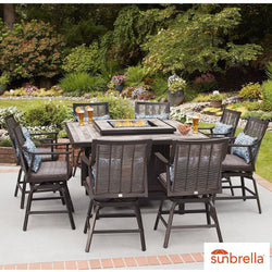 Agio Paris 9 Piece High Dining Fire Pit Set