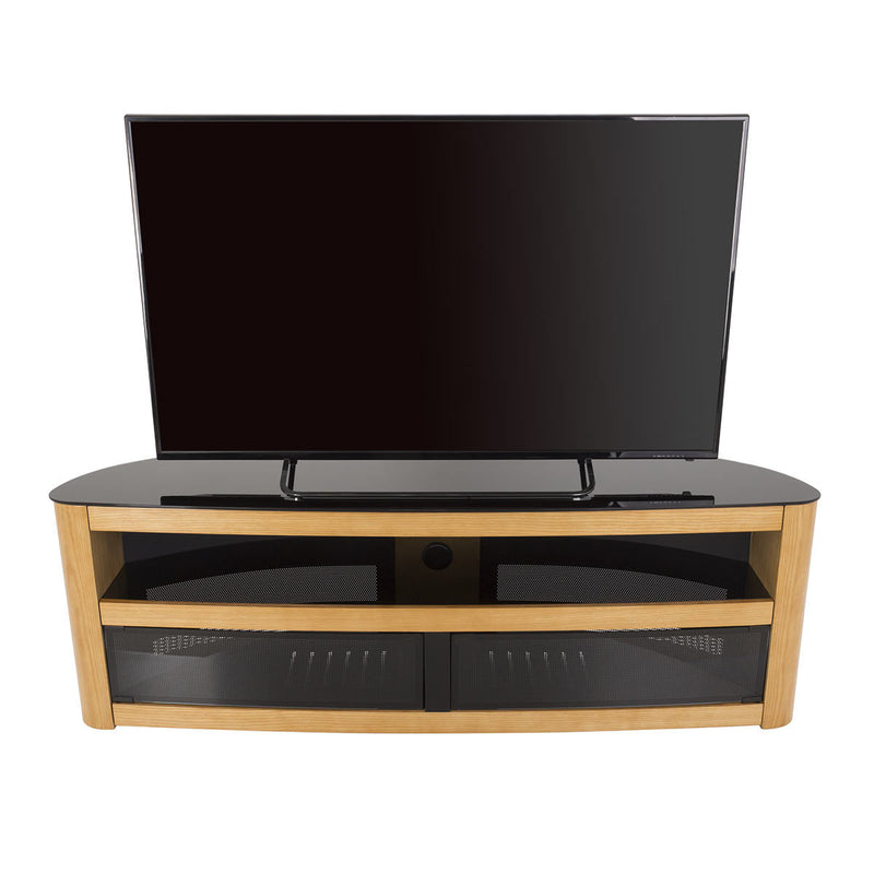 "AVF Burghley Affinity Plus Curved TV Stand for TVs up to 70"", Oak"