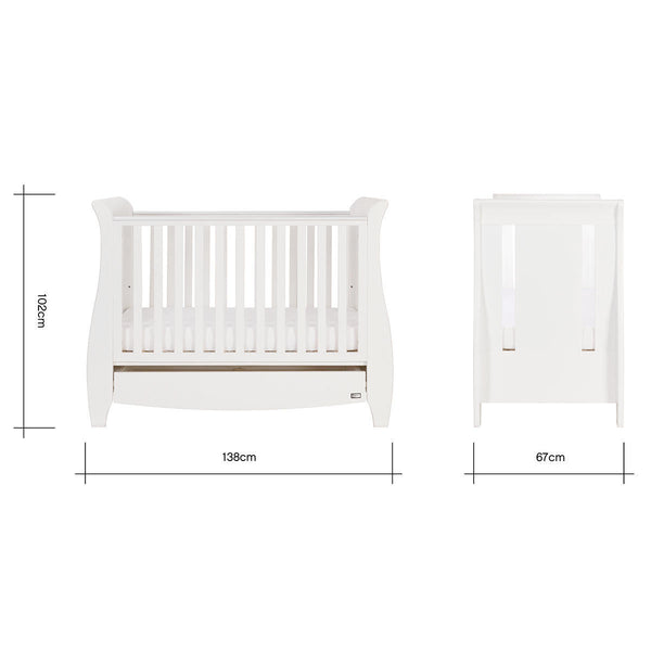 Tutti Bambini Katie Cot Bed in White with Sprung Mattress
