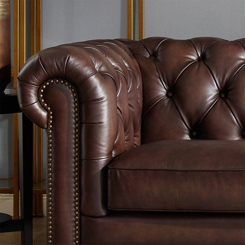 Allington 2 Seater Brown Leather Chesterfield Sofa