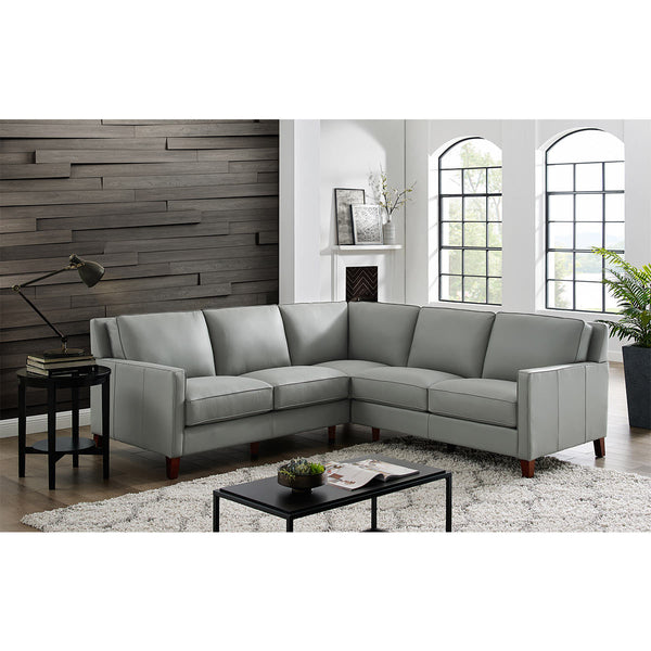 West Park Light Grey Leather Corner Sofa Free delivery assembley