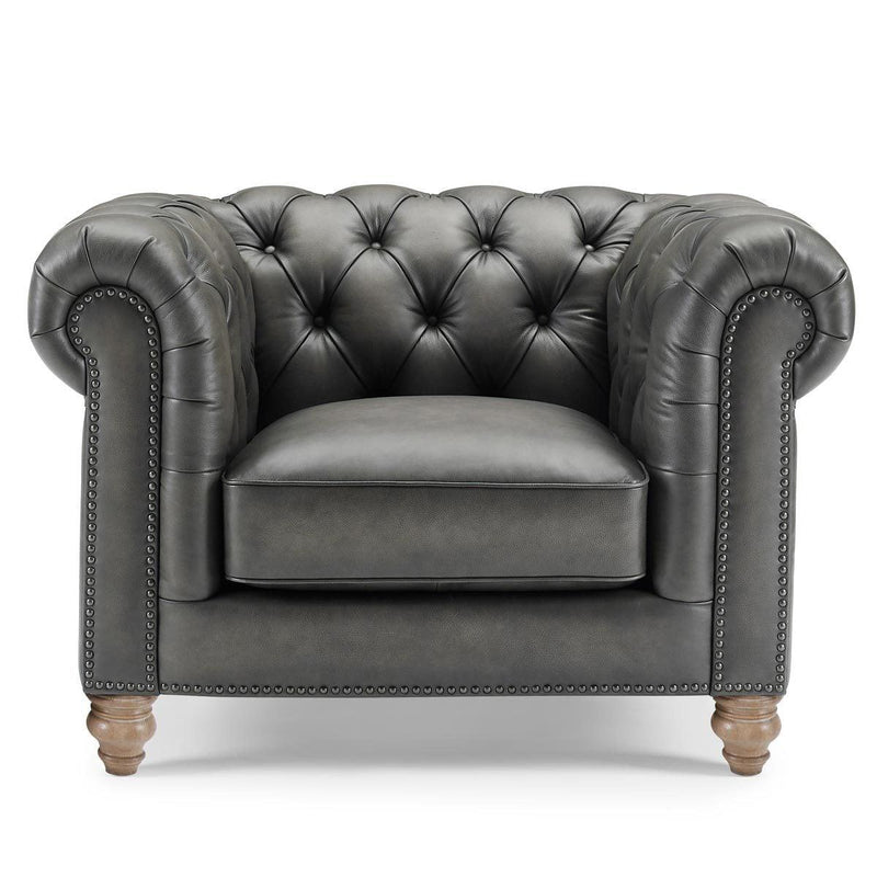 Allington Grey Leather Chesterfield Armchair