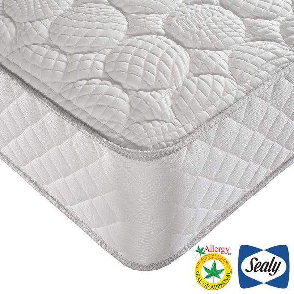 Sealy Posturepedic Dual Spring Geltex Mattress, King (150 x 200 cm)  - Comfort Rating: Medium / Soft  - Mattress Depth: 33 cm  - Geltex® & Pocket Springs  - Anti-Allergy