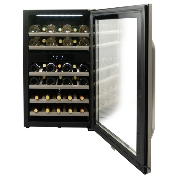 Danby DWC114KD1BSS, 38 Bottle Freestanding, Dual Zone Wine Cooler in Stainless Steel