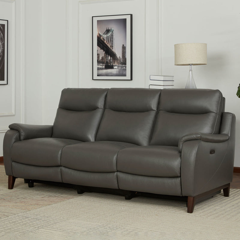 Gilman Creek Barrett 3 Seater Grey Leather Power Reclining Sofa with Power Headrests