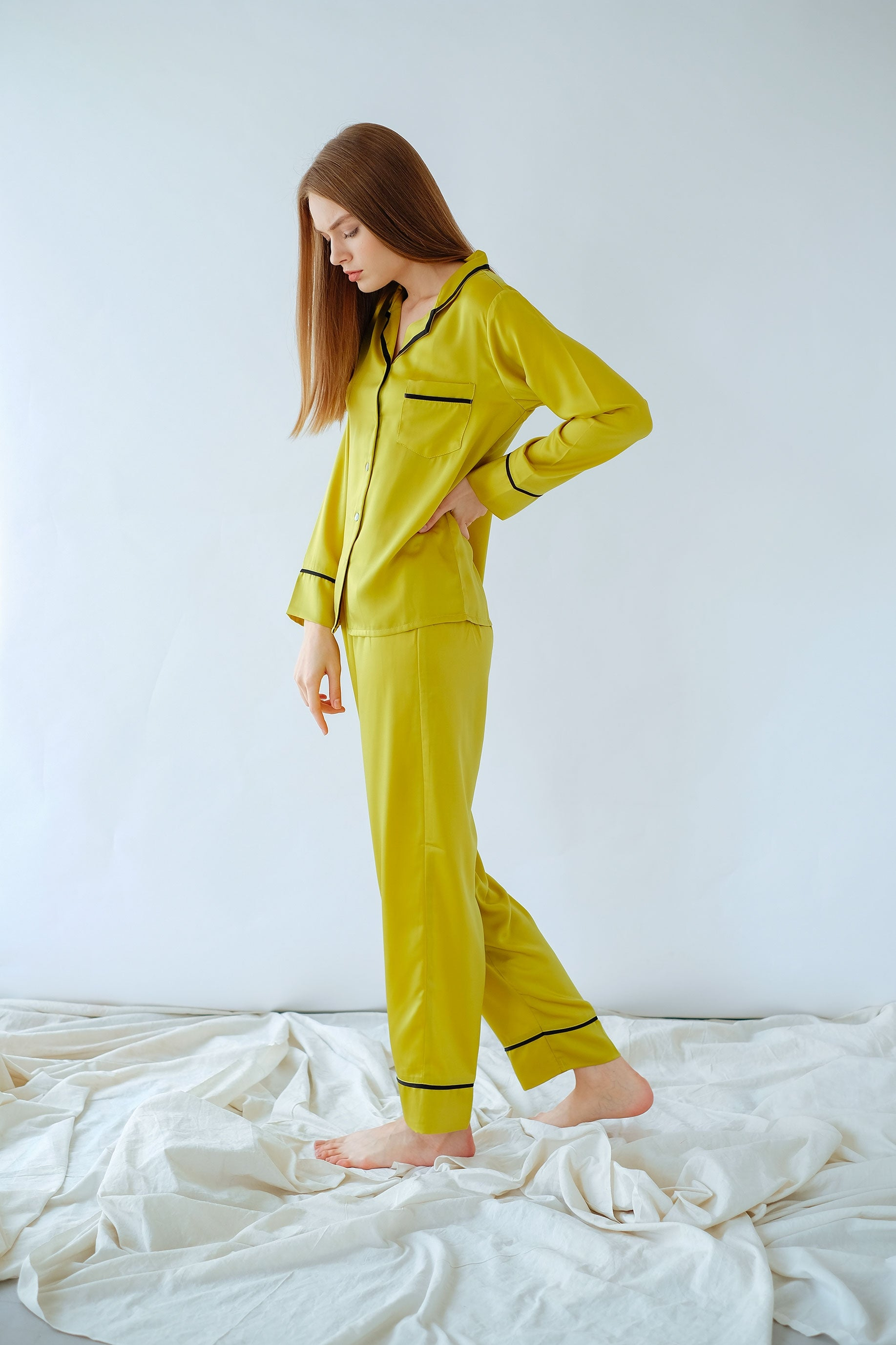 Elise Long PJ Set Lime Green/Black