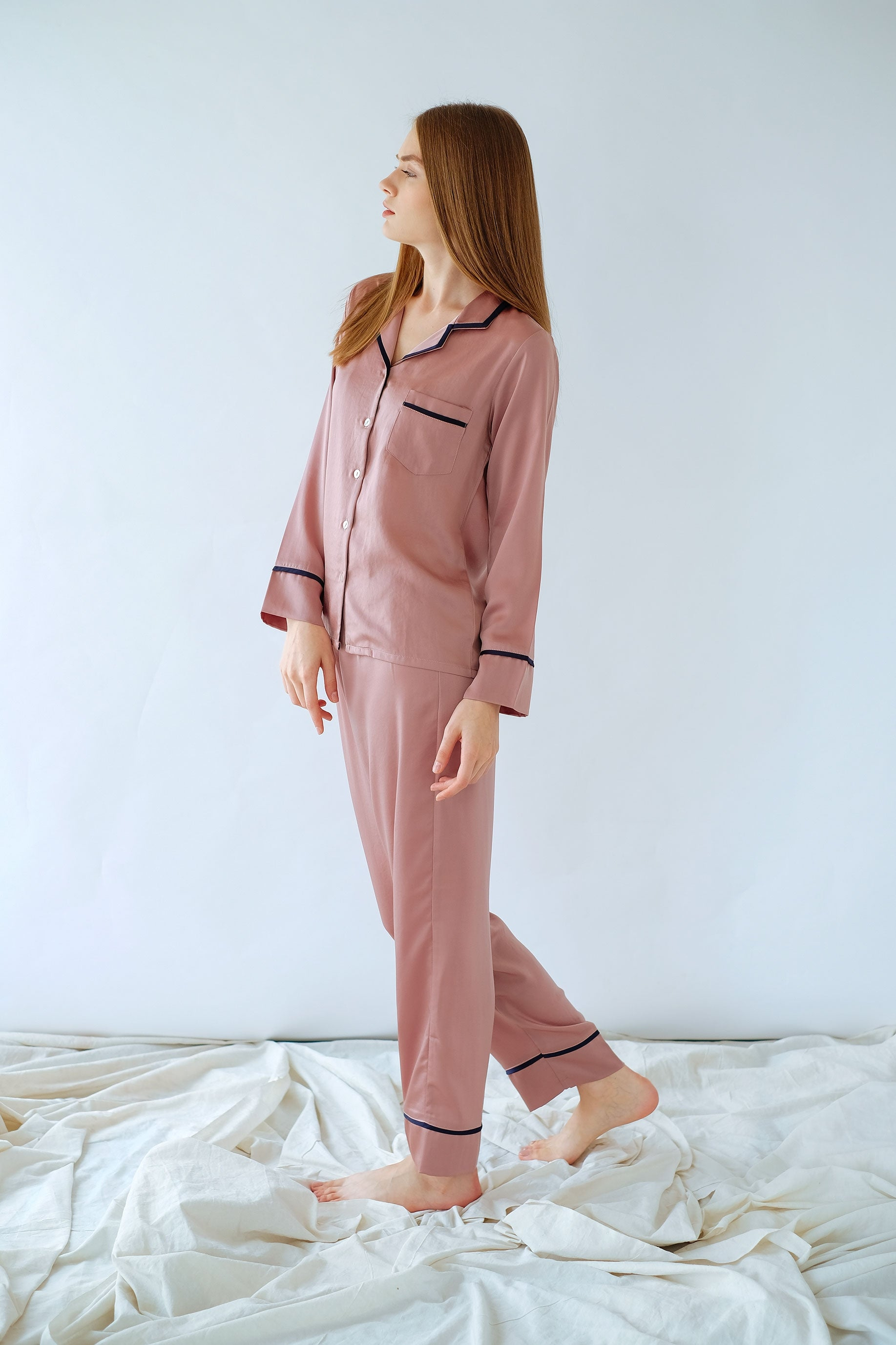 Elise Long PJ Set Rose Pink/Navy
