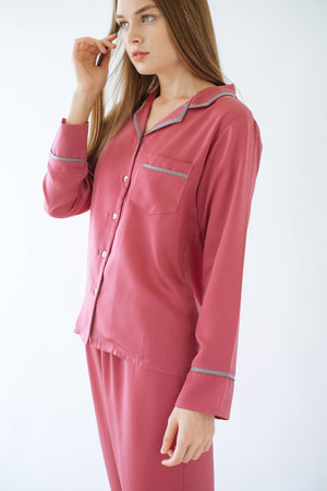 Elise Long PJ Set Rouge Pink/Grey