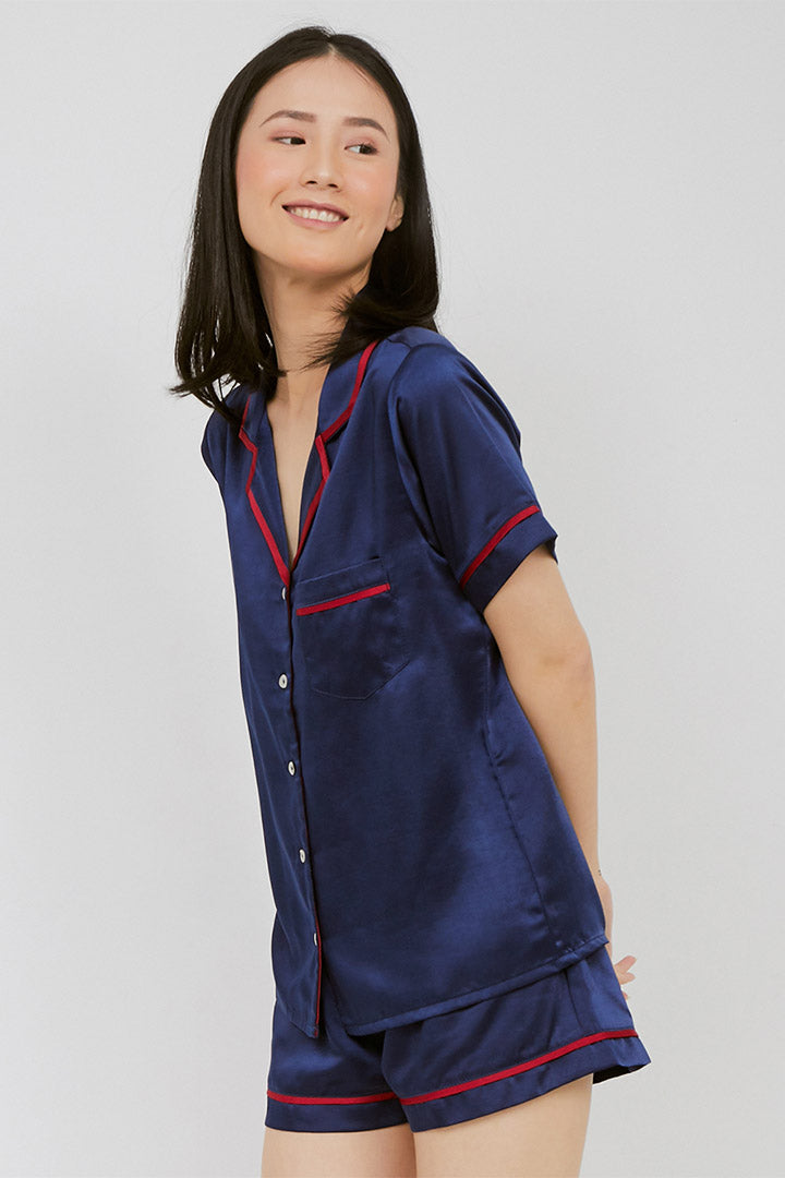 Elise Short PJ Set Navy Red