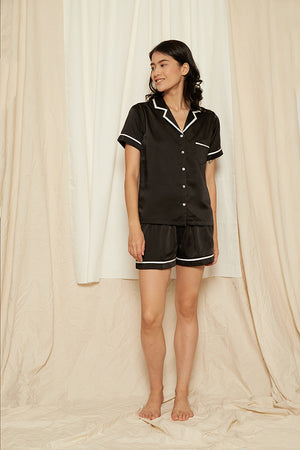 Elise Short PJ Set Black