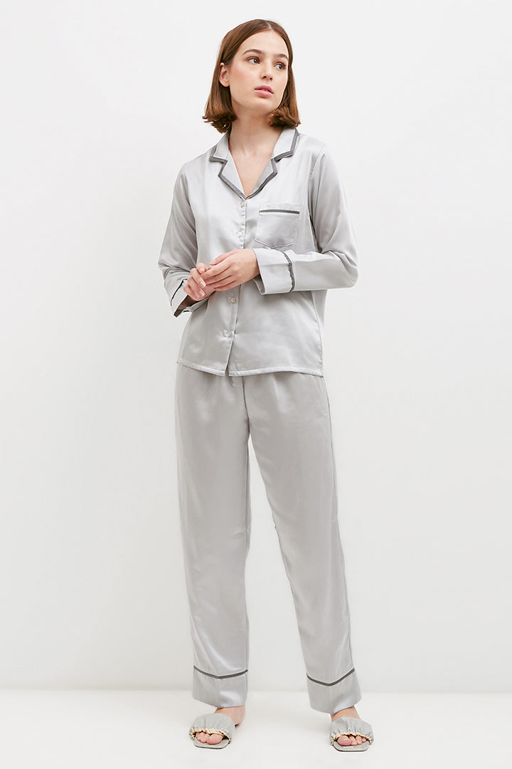 Elise Long PJ Set Dark Silver