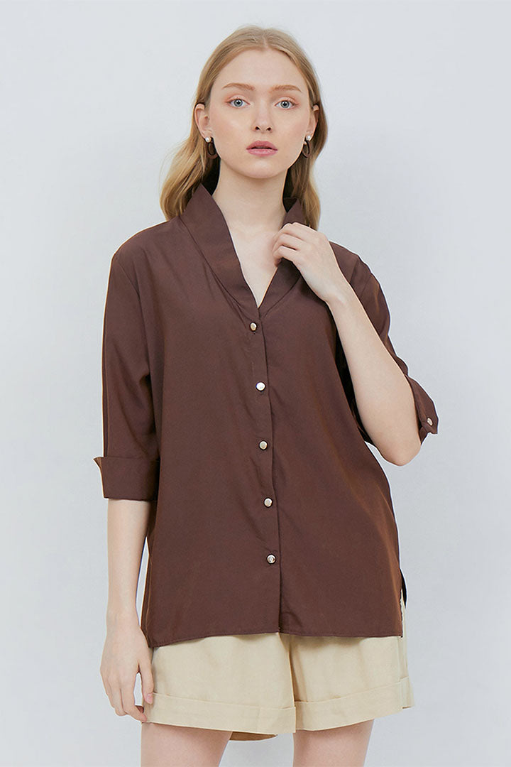 Renata Top Brown with Gold Buttons