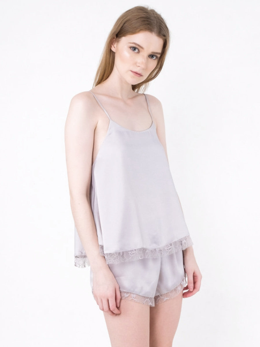 Karlie Lace Cami Set Light Grey