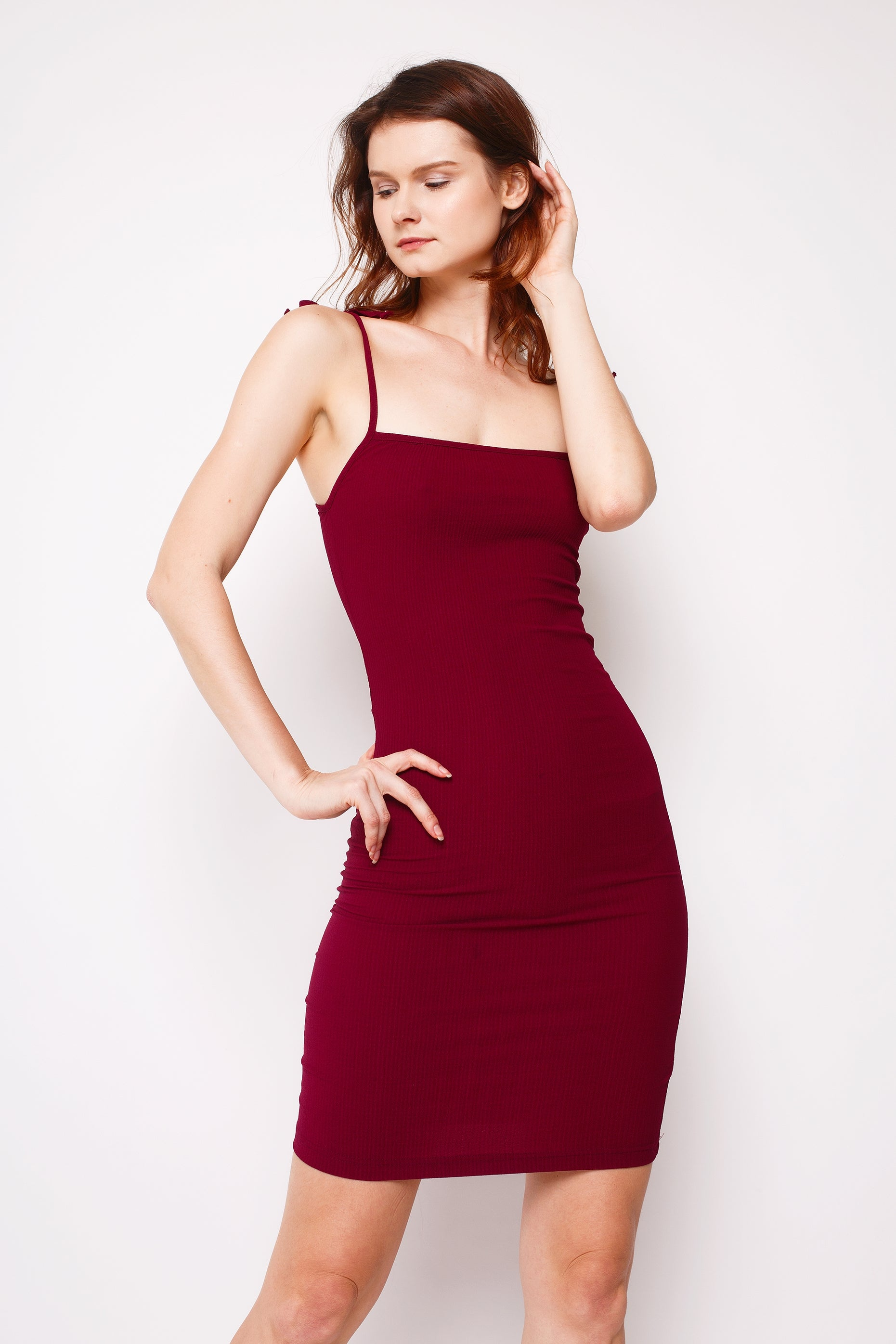 Thea Pleated Dress Merlot Red