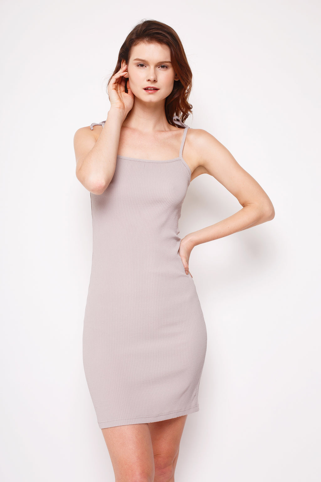 Thea Pleated Dress Taupe