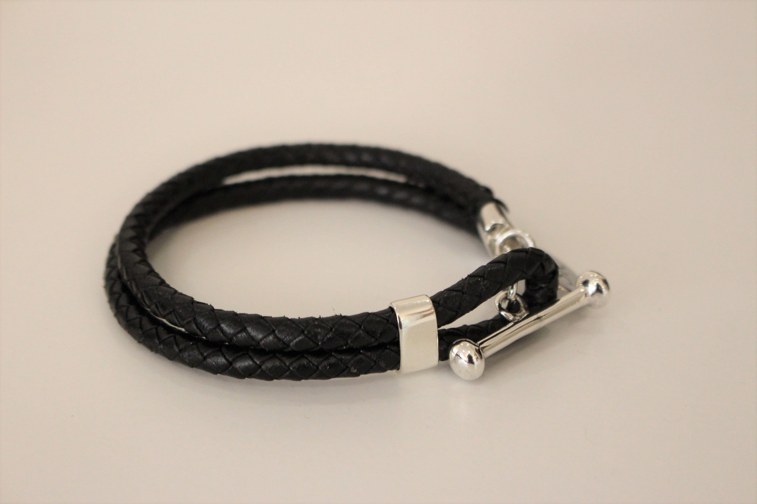 Black Leather Bracelet with Name Tag
