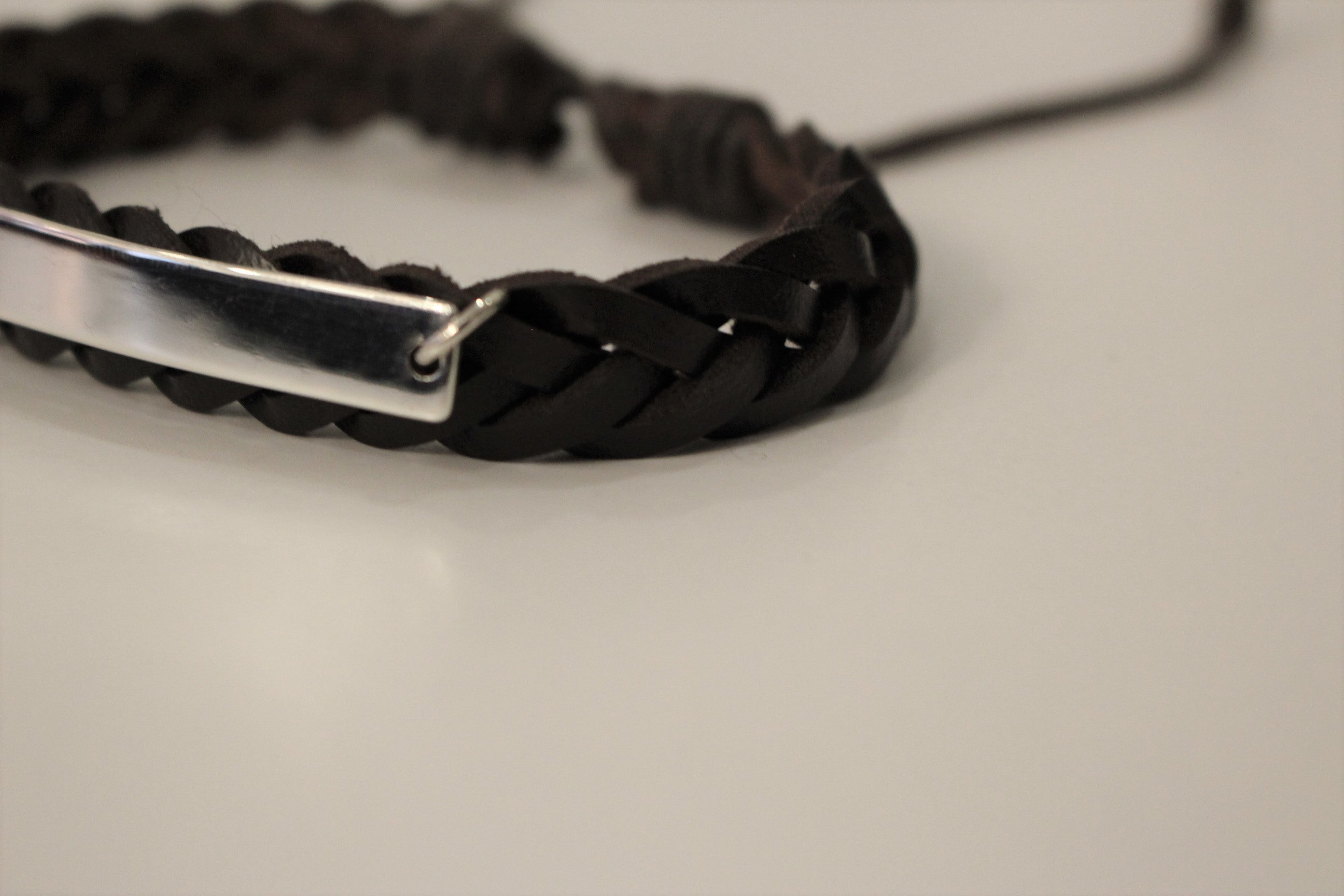 Name Plate Leather Bracelet