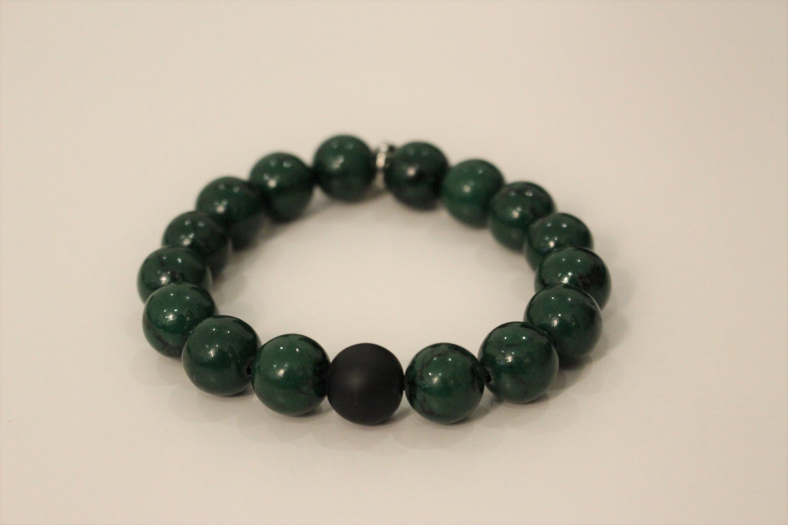 Jade and Silver Initial Bracelet