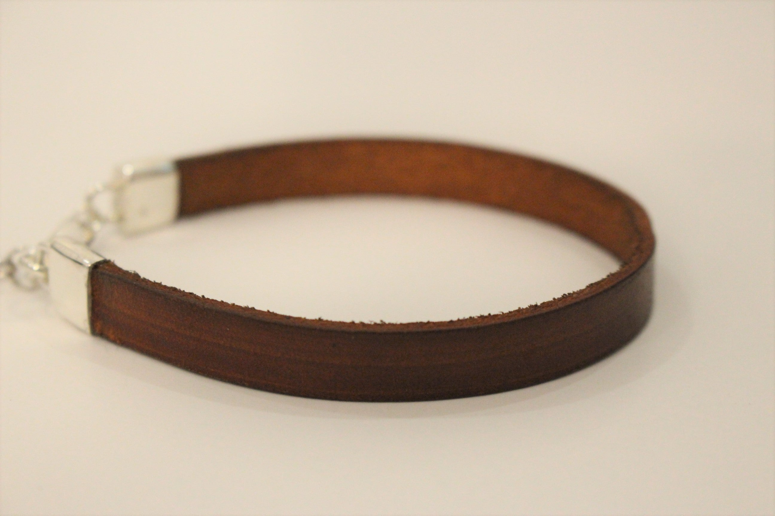 Flat Brown Leather Bracelet