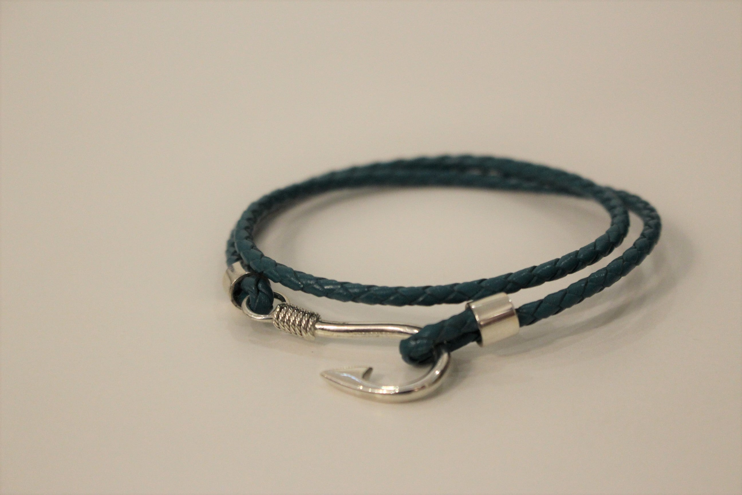 Teal Leather and Hook Bracelet