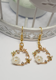 bee flower garland earrings