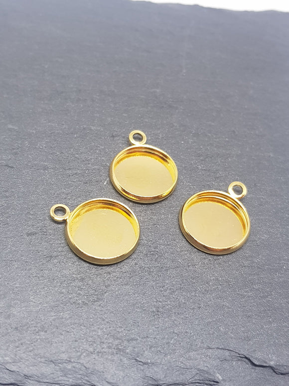 10mm, 12mm, gold cabochon settings