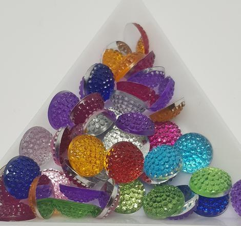 10mm Mixed Colour Cabochons, Made of Resin