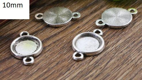 10mm Silver Cabochon Connectors