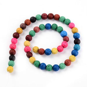 10mm Dyed Mixed Colour Lava Beads