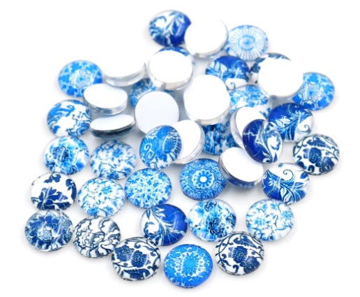 10mm Blue and White Glass Cabochons