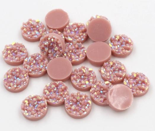 12mm Pink Resin Druzy Cabochon