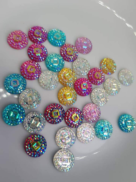 12mm Resin Cabochon Round Flatbacks - Mixed Colours