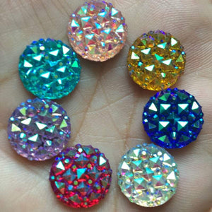 12mm Textured Resin Rhinestone Cabochons