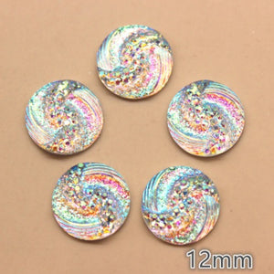 Selection of 12mm Resin Iridescent Cabochons