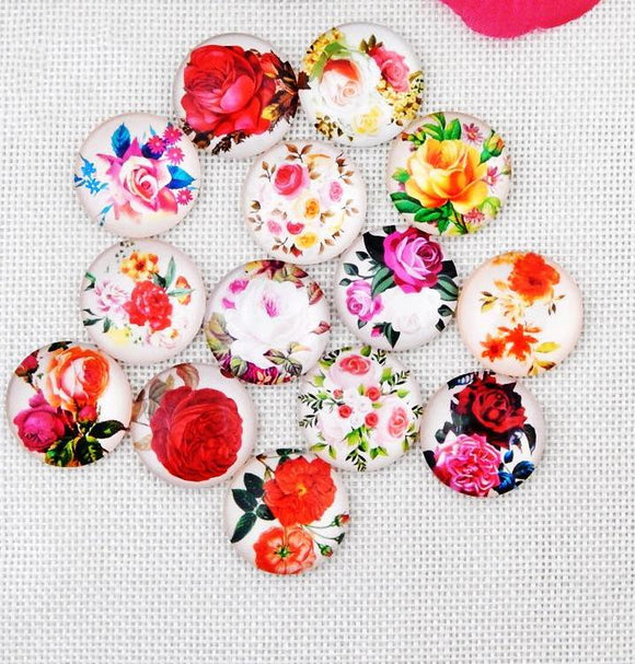 10mm Floral Glass Cabochons