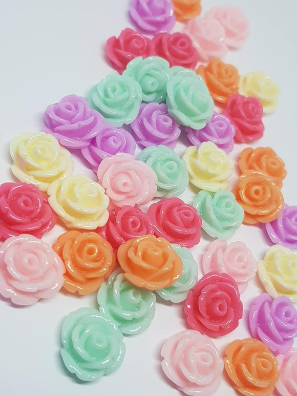 Mixed Colour 12mm Acrylic Flower Flatbacks