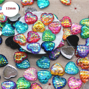 12mm mermaid heart cabochon