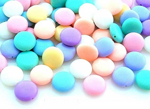Pastel Disc Acrylic 12mm Beads