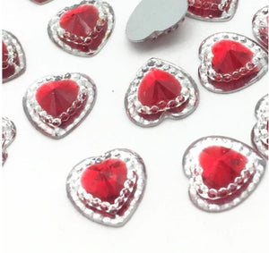 Elegant Red Heart 12mm Flatbacks