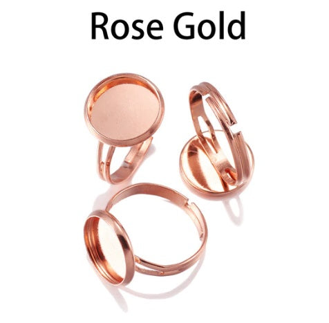 Rose Gold Cabochon Ring Blanks, 10mm and 12mm Available