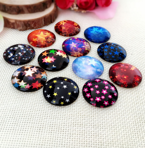 10mm or 12mm Star Glass Cabochons