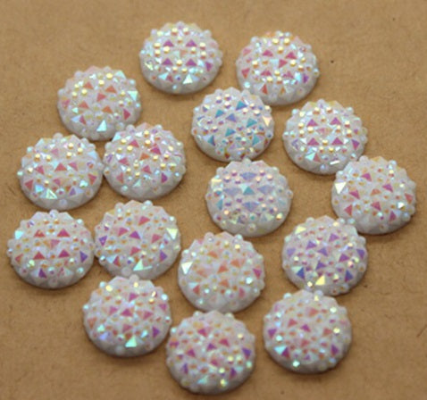 12mm White Textured Cabochon Flatback