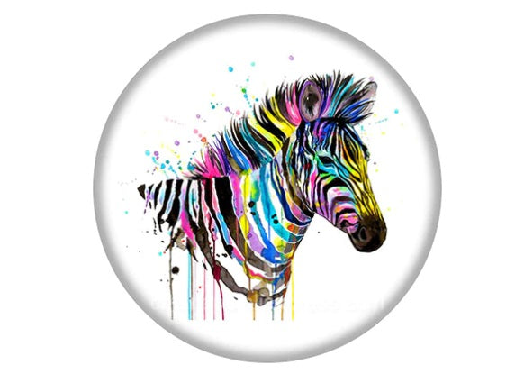 Colourful Zebra Glass Cabochon 12mm