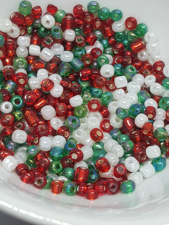 Mixed Christmas Glass Beads, 3-4mm